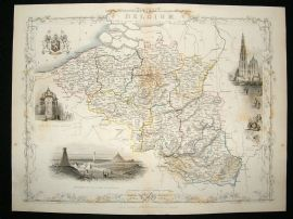 Belgium: 1852 Antique Map. Decorative. Tallis Rapkin